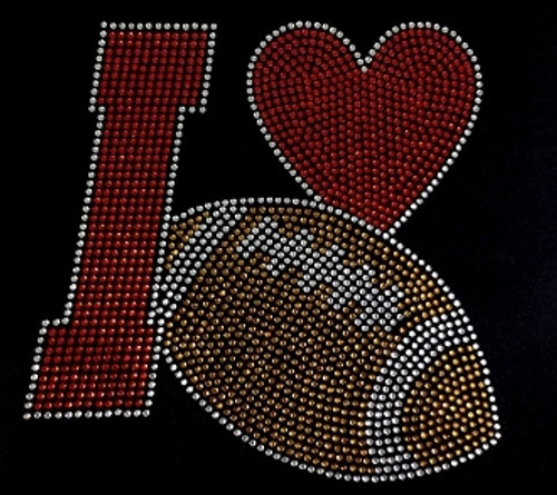 Rhinestone I love Football