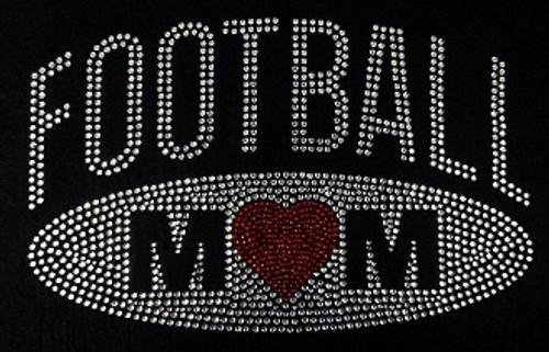 Rhinestone Football Mom Oval Heart