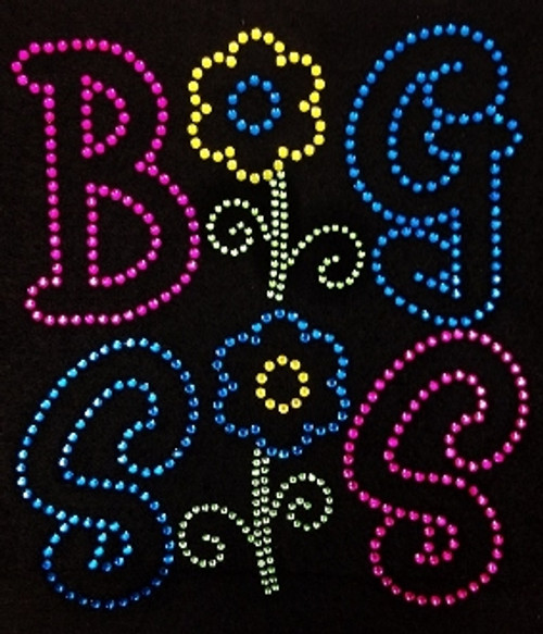 Rhinestone Big Sis Flowers Rainbow Colors Please See Available Colors In Discription