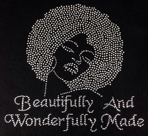 Rhinestone Afro Lady Right Beautifully and Wonderfully Made
