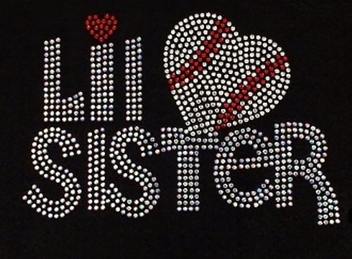 Rhinestone Lil Sister Baseball Heart Please see description for color availability