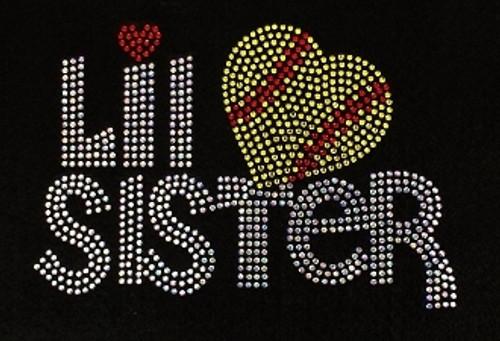 Rhinestone Lil Sister Softball Heart Please see the description for color avilability