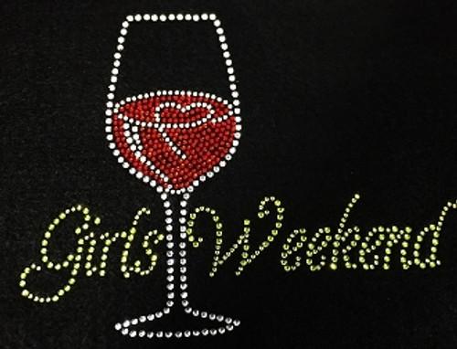 Rhinestone Girls weekend Wine Glass