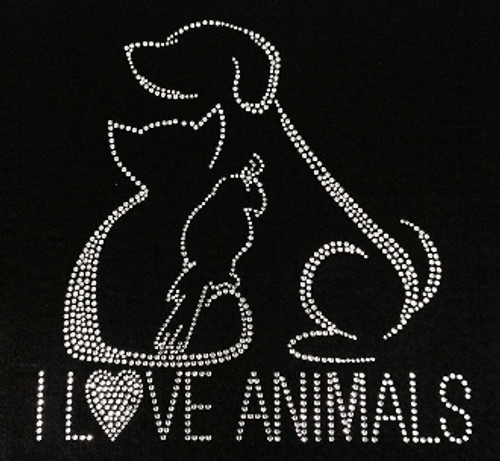 Rhinestone I Love Animals Dog, Cat, Bird/JUNIOR LG, XL/MISSES 3XL ONLY