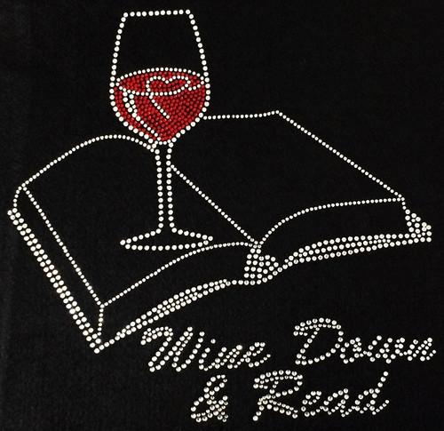Rhinestone Wine Down And Readbook and glass of wine