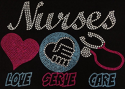 Rhinestone Nurses Love, Serve, Care