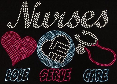Rhinestone Nurses Love, Serve, Care