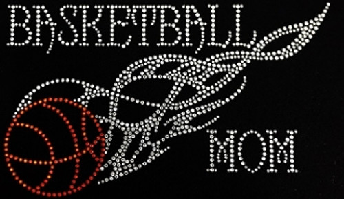 Rhinestone Basketball Mom flaming basketball