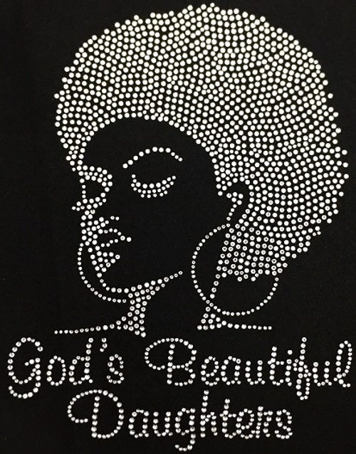 Rhinestone Afro Lady Left God's Beautiful Daughters