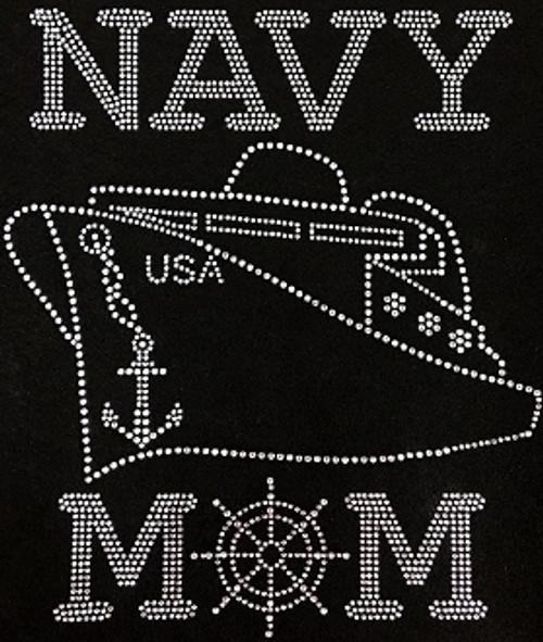 Rhinestone Navy Mom