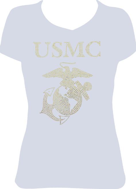 Rhinestone USMC United States Marine Corp/JUNIOR FIT LG ONLY