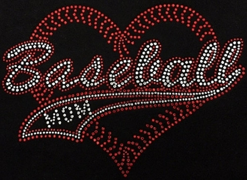 Rhinestone Baseball Mom Tail Heart Red