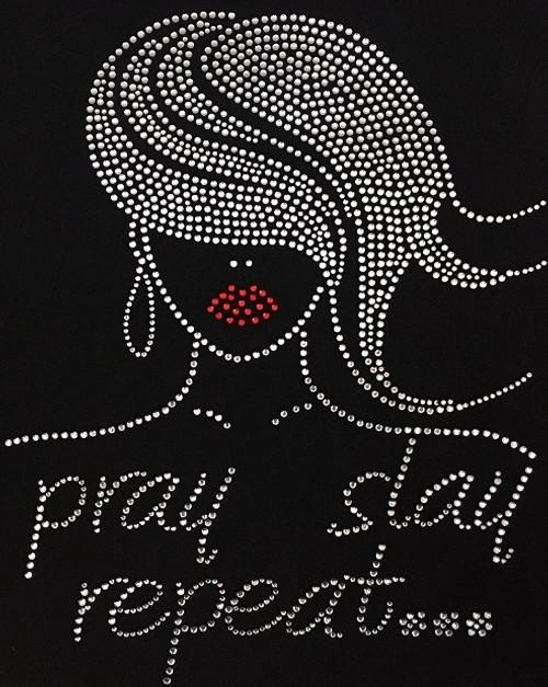 Rhinestone Sway hair natural girl Pray Slay Repeat Glamour girl