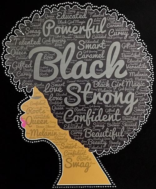 Rhinestone Natural Girl Words With Printed Vinyl Black