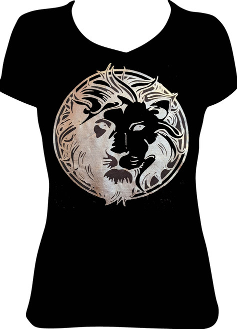 Sugarbear's Apparel Women's Men's Gold Foil Glitter Lion Head T-Shirt Shiny ONLY COMES IN BLACK AND UNISEX