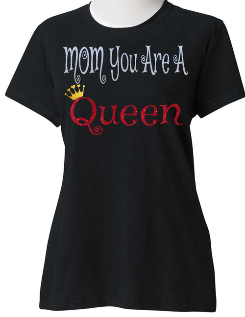 ENJOY EVERYDAY LIFE, SUGARBEAR'S UNISEX White and Red Glitter CrownHeart My Mom is a Queen Best Mom Mother's Day