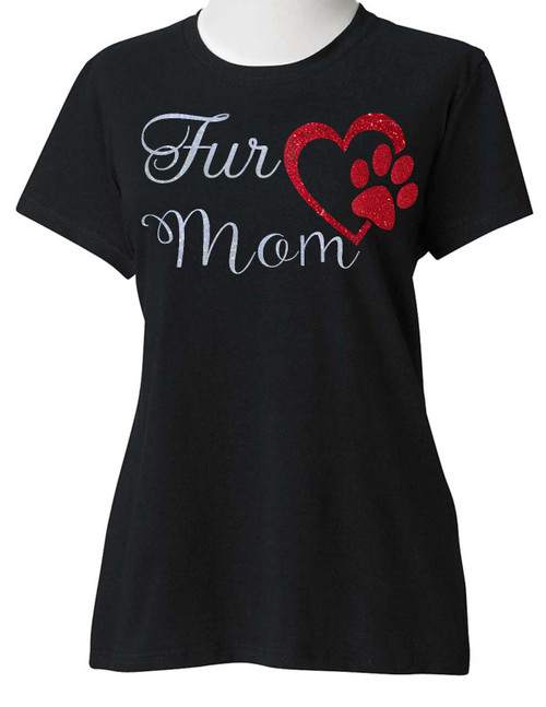 ENJOY EVERYDAY LIFE, SUGARBEAR'S UNISEX White and Red Glitter Fur Mom With Heart Cat Dog Mother's Day