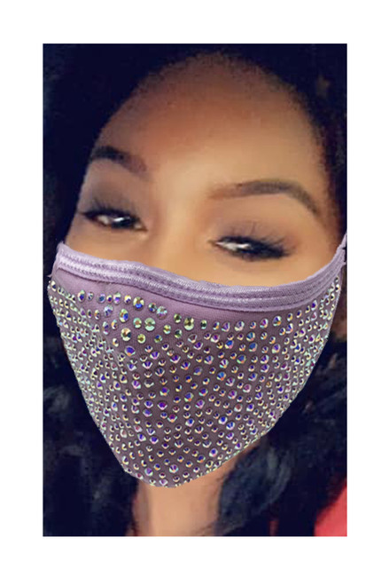 Rhinestone Full Bling Face Mask Cotton Interior Piece W/ Filter Slot and Filter