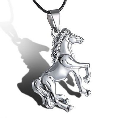 "2 "" Stainless Steel Horse Black Chain Necklace"