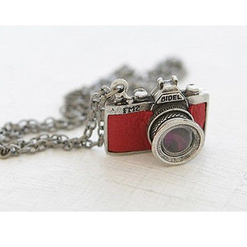 2 inch Stainless Steel Large Red Camera with Crystal Accent
