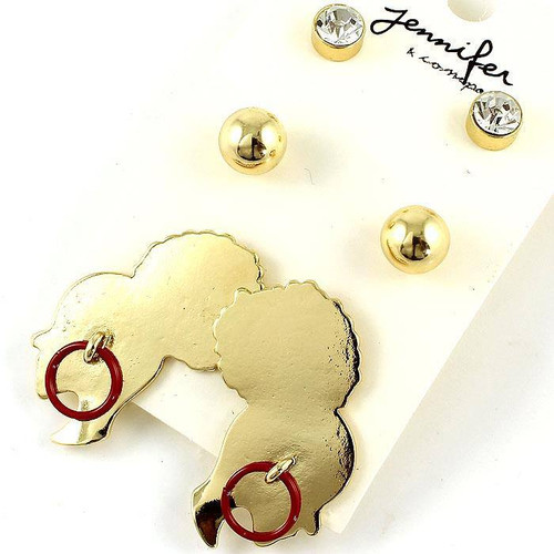 3 pairs of Earrings Rhinestone, Crystal Stone, Gold Ball, and Gold Afro Puff Lady with Colored Hoop Earring