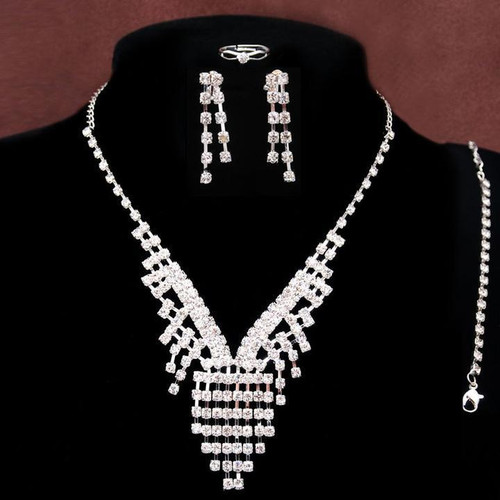 4pc Silver Plated Tassel V  Rhinestone Necklace Bracelet Earrings Ring Wedding Bridal Jewelry Set