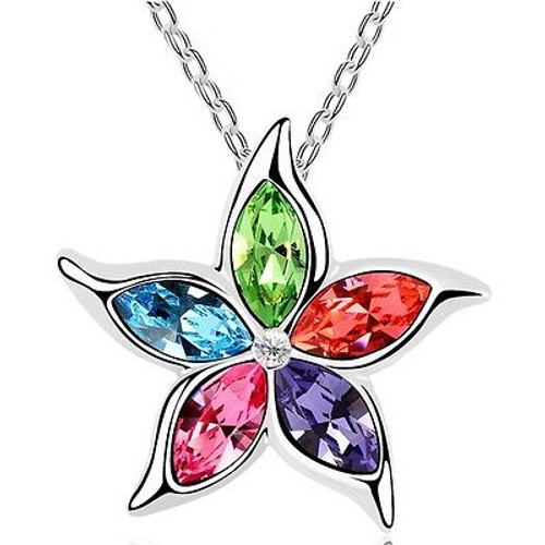 9k White Gold Filled Colored Star and Clear CZ Necklace