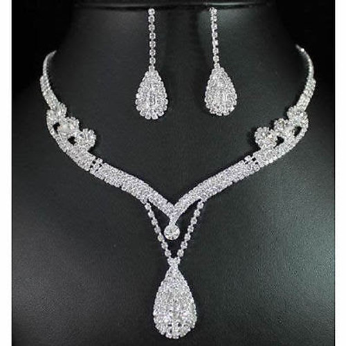 Crystal Rhinestone Tear Drop Earrings Necklace Wedding Prom Bridal Jewelry Set