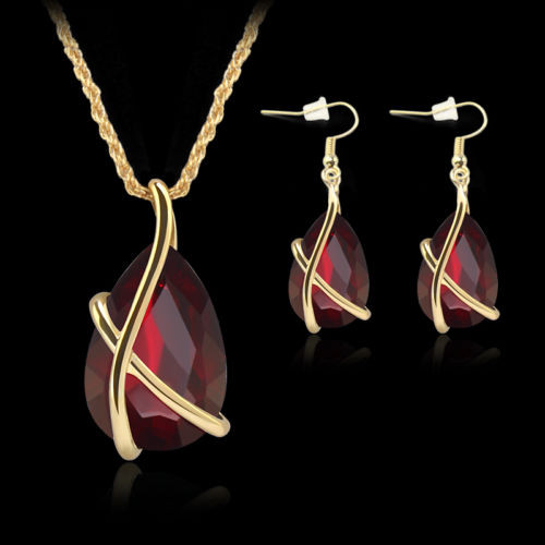 Fashion 18K Gold Plated Ruby Crystal Necklace Earring Wedding Party Jewelry Set