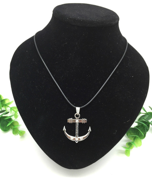 Fashion Jewelry Stainless Steel Rhinestone Love Anchor Pendant Necklace