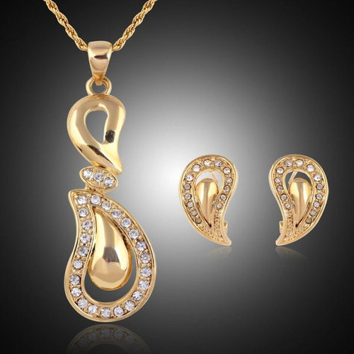 Fashion Paisley Gold Tone and Crystal Rhinestone Necklace and Earring Set