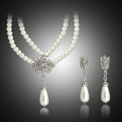 Faux Pearl Crystal Necklace Wedding and Bridal Jewelry Set
