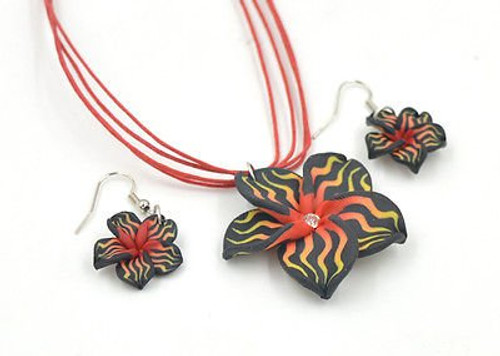 Flower Big Polymer Clay Rhinestone Necklace and Earrings Leather Necklace Set