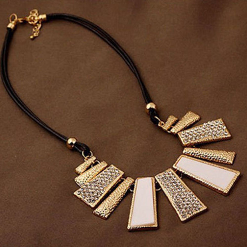 Gold Tone Glitter White and Rhinestone Bar Necklace
