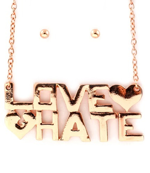 Love Hate Necklace and Ball Earring Set