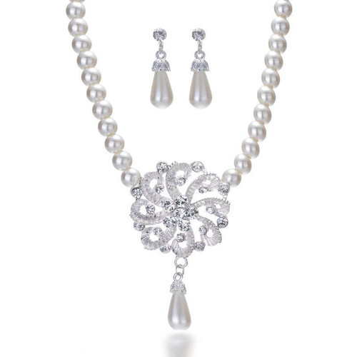 New Faux Pearl Silver Necklace Earring Wedding Bride Crystal Jewelry Set Gifts