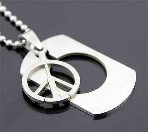 """1 1/2"""" Peace Symbol Women's/Men's Silver Stainless Steel Titanium Pendant Necklace"""