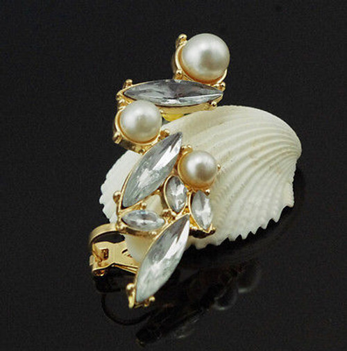 Pearl Ear Clip with Crystal Accent
