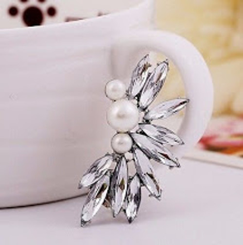 Pearl Flower with Crystal Accent Ear Clip