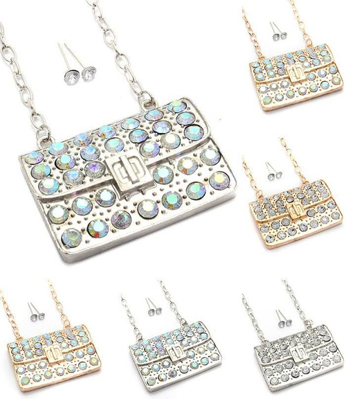 Purse Rhinestone with Ball Earrings Set Gold with AB Rhinestones Only