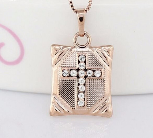 "1/2"" Stainless Steel Golden Bible with Crystal Cross Accent Necklace"