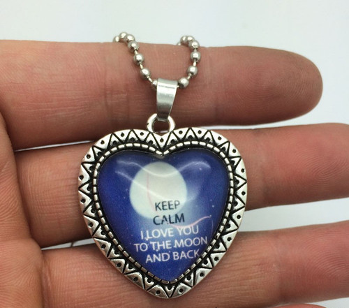 Stainless Steel Heart with I Love You To The Moon And Back