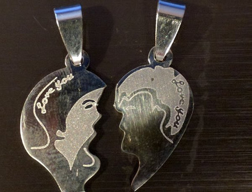 Stainless Steel His and Hers I Love You Face Necklaces Black Necklace
