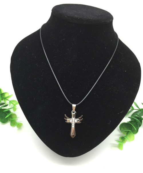 Stainless Steel Rhinestone Cross with Angel Wings Pendant Necklace