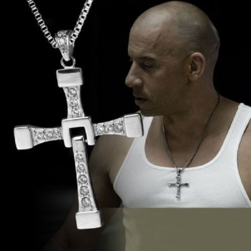 Stainless Steel Silver Cross and Crystal Necklace link chains