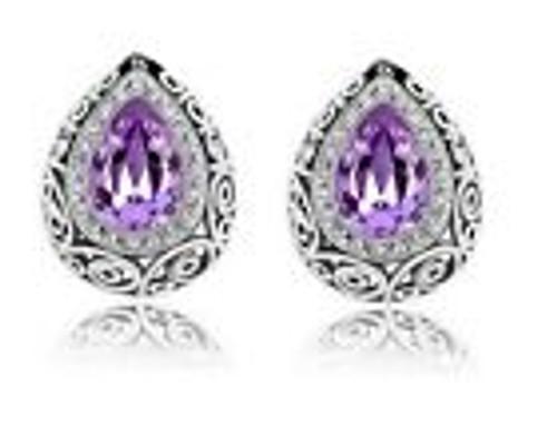 Stainless Steel Small silver teardrop pierced, spring back earrings, with teardrop stone in the center