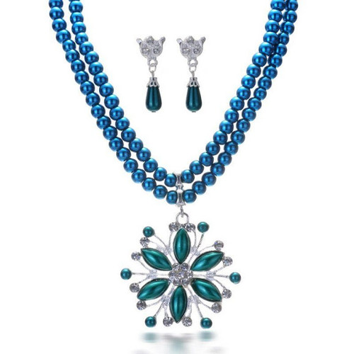 Teal and Crystal Accent Wedding and Event Necklace Set