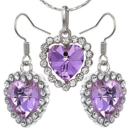 Three Piece Silver Tone Chain Purple Heart Necklace and Earrings