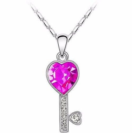 Womens 9K White Gold Filled Colored Crystal Key Necklace