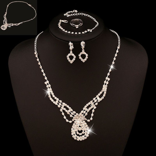 Womens Rhinestone Crystal Pearl Necklace Earring Wedding Bridal Jewelry Set Gift